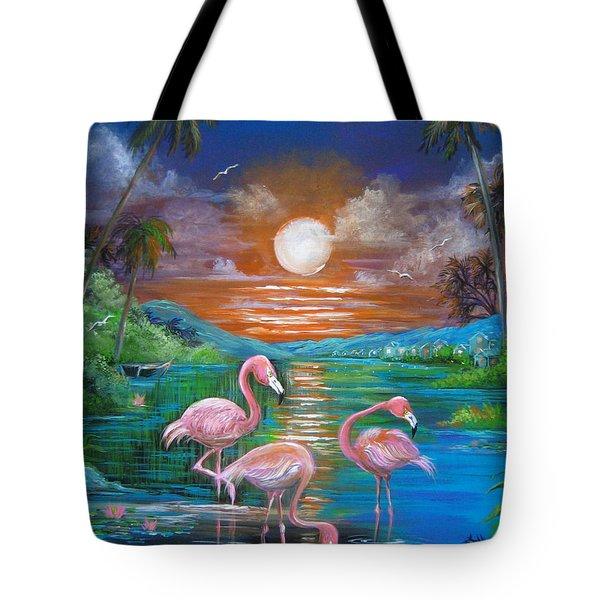 Pink Flamingos Tote Bag by Patrice Torrillo