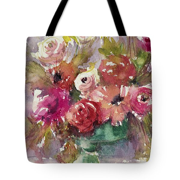 Pink Floral Impressions Tote Bag by Judith Levins