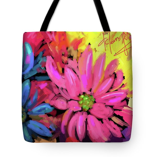 Tote Bag featuring the painting Pink Flower by DC Langer