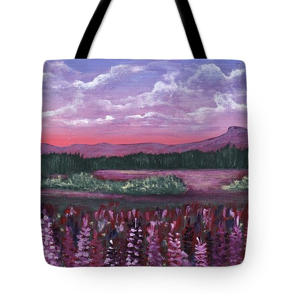Tote Bag featuring the painting Pink Flower Field by Anastasiya Malakhova