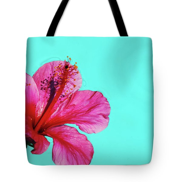 Pink Flower In Water Tote Bag