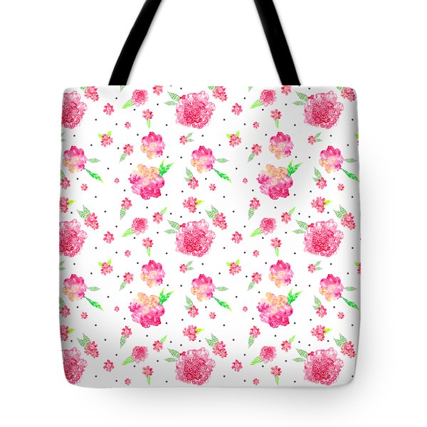 Pink Flower Pattern Tote Bag