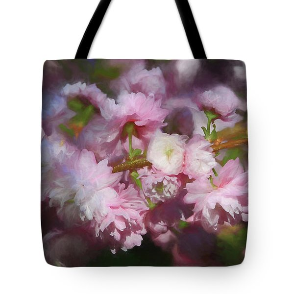 Tote Bag featuring the photograph Pink Flowering Almond by Donna Kennedy