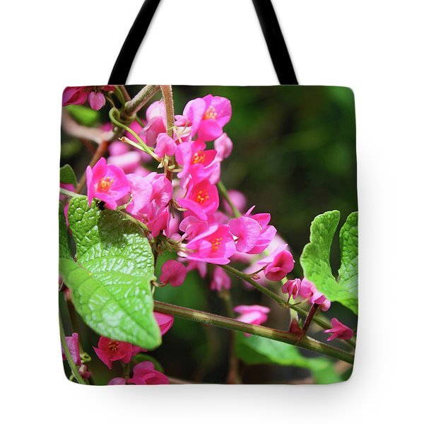 Tote Bag featuring the photograph Pink Flowering Vine3 by Megan Dirsa-DuBois