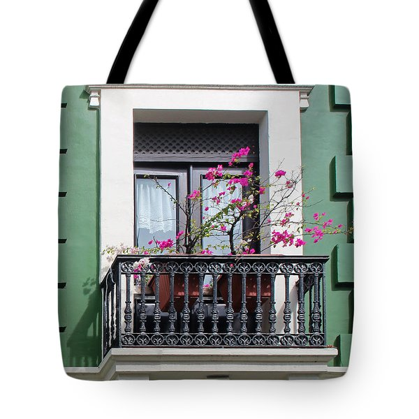 Pink Flowers On Balcony Tote Bag