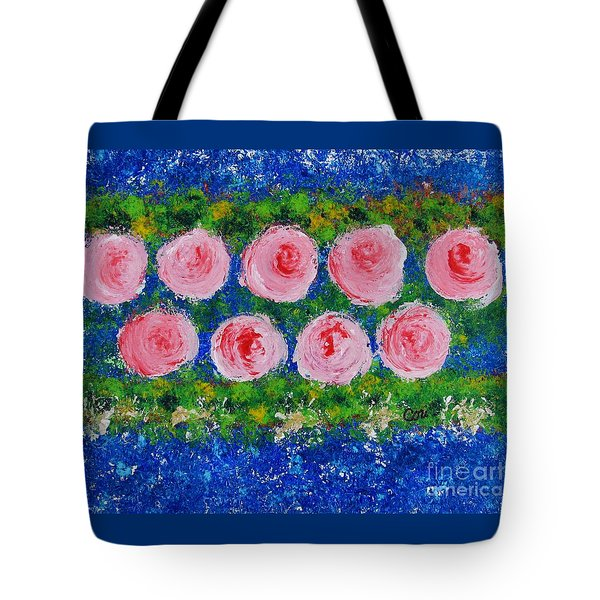 Pink Flowers On Green And Blue Tote Bag