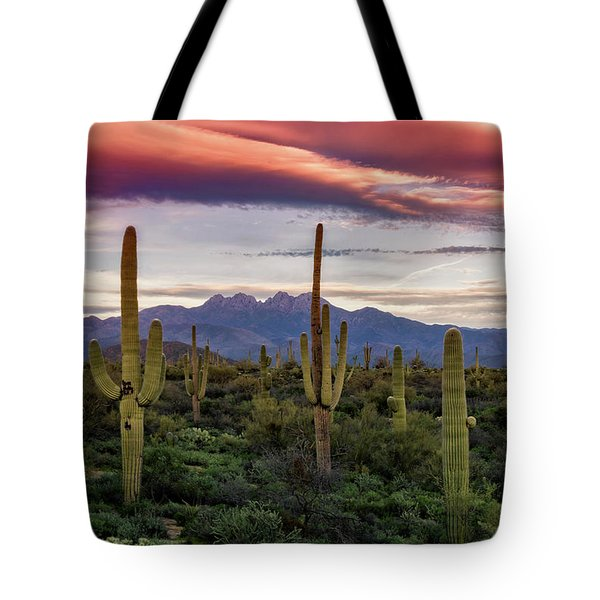 Tote Bag featuring the photograph Pink Four Peaks Sunset  by Saija Lehtonen