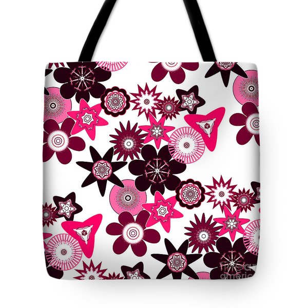 Pink Funky Flowers Tote Bag by Methune Hively