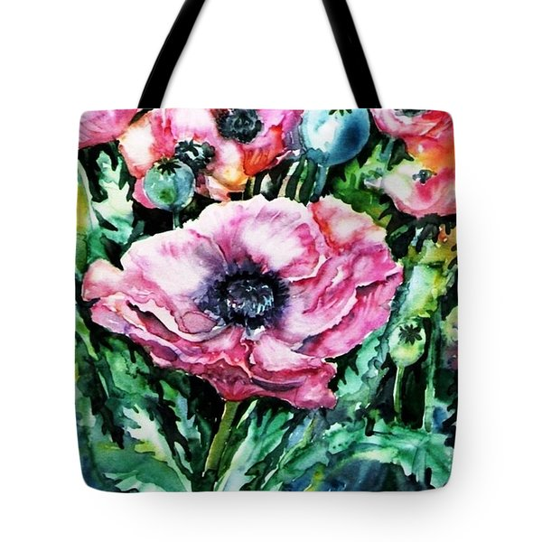 Tote Bag featuring the painting Pink Garden Poppies  by Trudi Doyle
