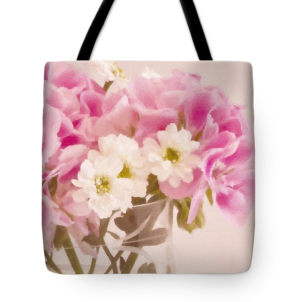 Pink Geraniums Tote Bag by Sandra Foster