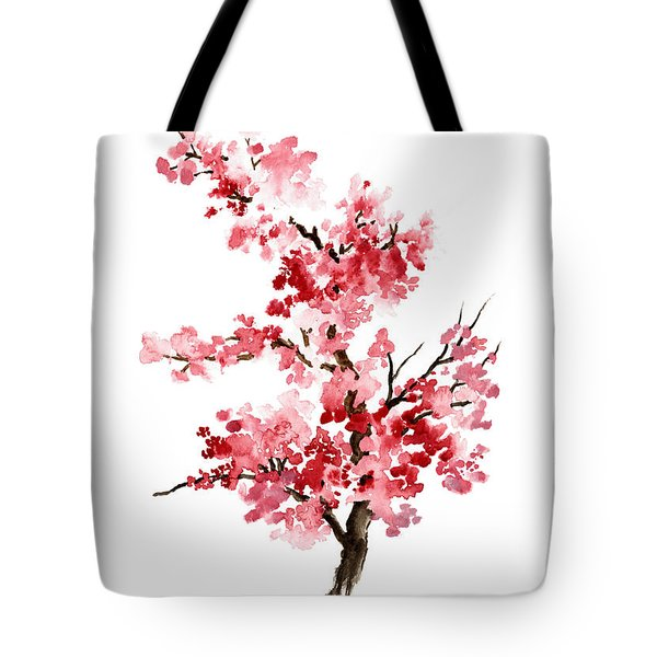 Cherry Blossom, Pink Gifts For Her, Sakura Giclee Fine Art Print, Flower Watercolor Painting Tote Bag