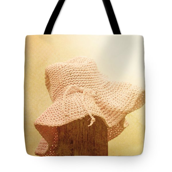 Pink Girls Hat On Farmyard Fence Post Tote Bag