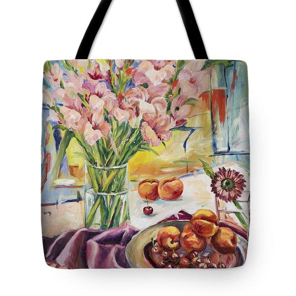 Pink Gladioas Tote Bag