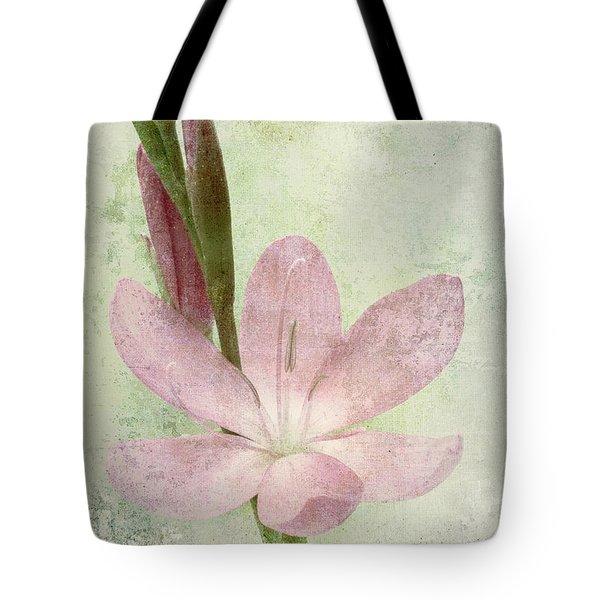 Pink Gladiolus On Green Tote Bag