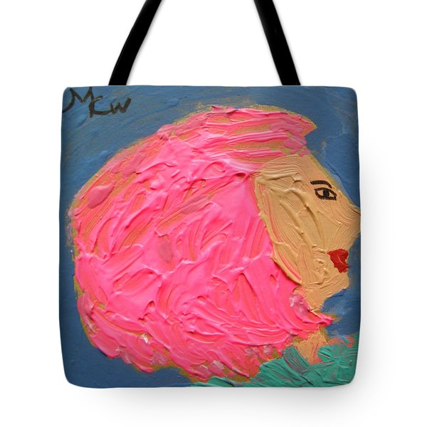 Tote Bag featuring the painting Pink  Hair by Mary Carol Williams