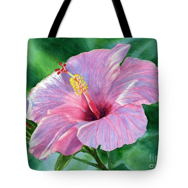 Pink Hibiscus Flower With Leafy Background Tote Bag