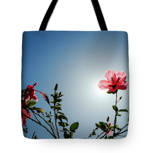 Pink Hibiscus Flowers Tote Bag