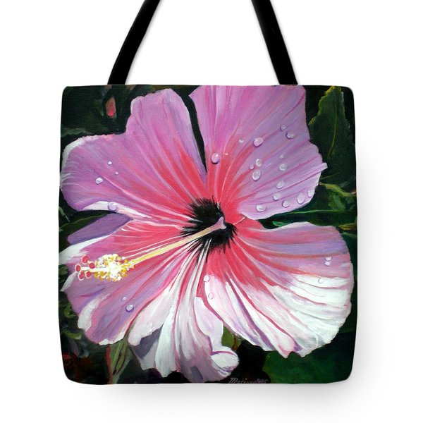Pink Hibiscus With Raindrops Tote Bag by Marionette Taboniar