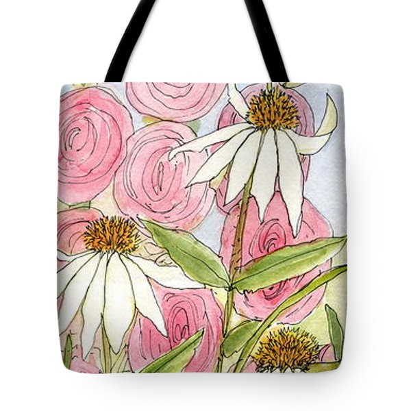 Pink Hollyhock And White Coneflowers Tote Bag