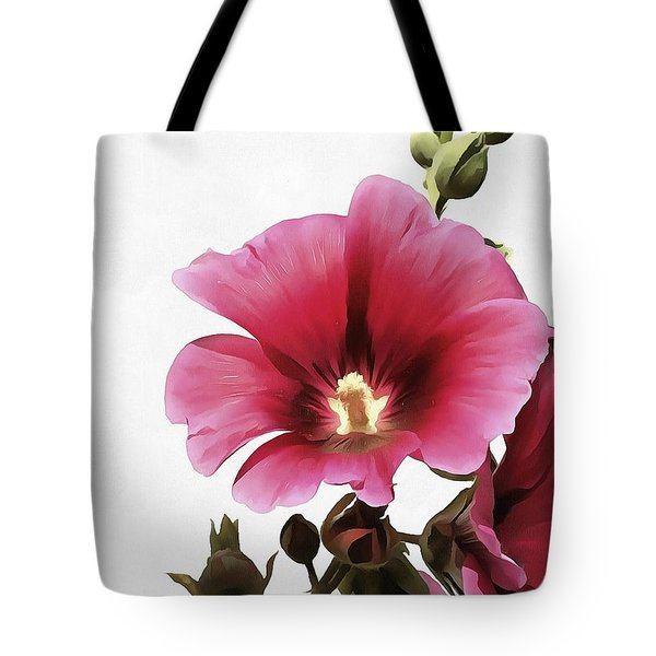 Pink Hollyhock Tote Bag by Tracey Harrington-Simpson