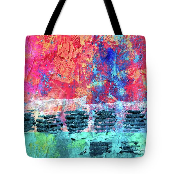 Tote Bag featuring the painting Pink Horizon by Nancy Merkle