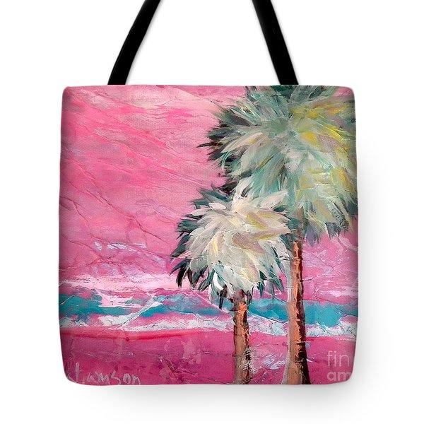 Pink Horizon Palms Tote Bag
