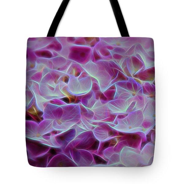 Pink Hydrangea Glow Tote Bag