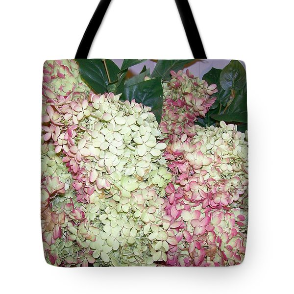Tote Bag featuring the digital art Pink Hydrangeas by Barbara S Nickerson