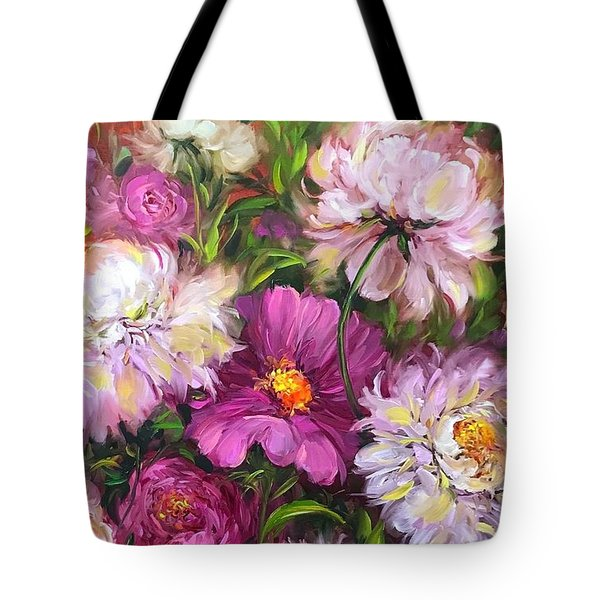 Pink Kiss Peony Bouquet Tote Bag
