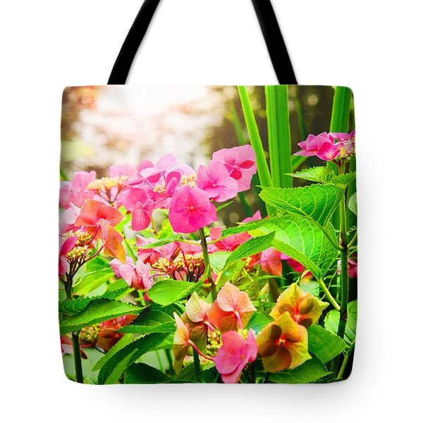 Tote Bag featuring the photograph Pink Lace Cap Hydrangeas by MaryJane Armstrong