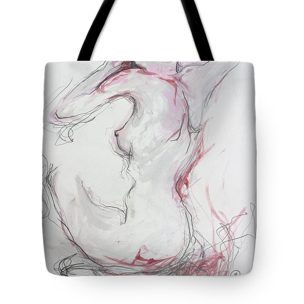 Tote Bag featuring the drawing Pink Lady by Marat Essex
