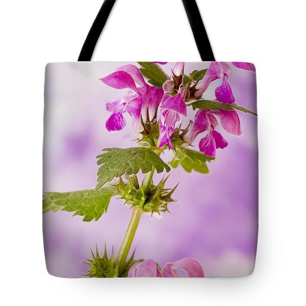Pink Lamium Macro  Tote Bag by Sandra Foster