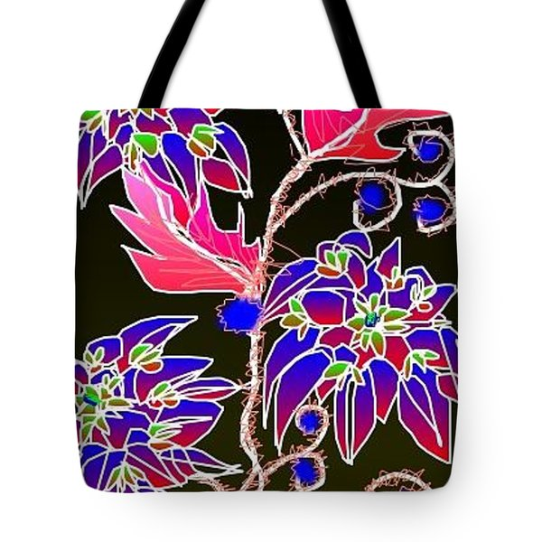 Tote Bag featuring the digital art Pink Leaves Blue Flowers by Rae Chichilnitsky