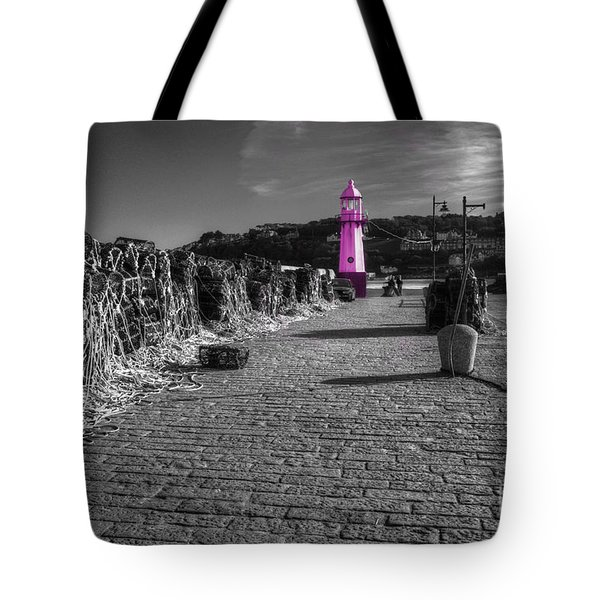 Pink Lighthouse Of St Ives Tote Bag