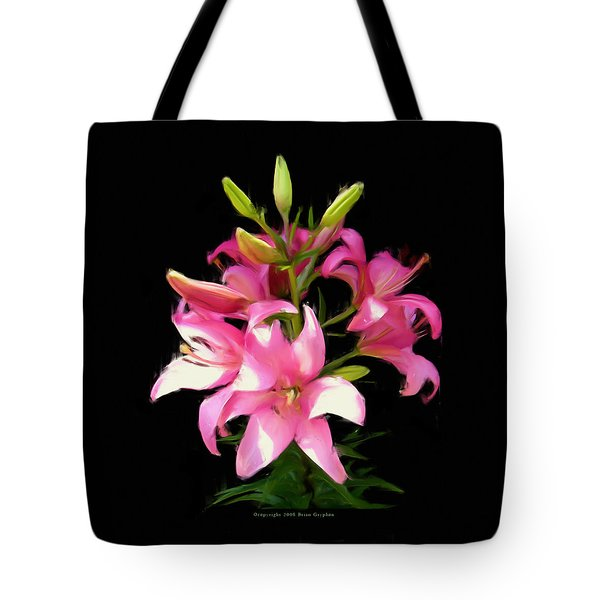 Tote Bag featuring the digital art Pink Lilies 22103g by Brian Gryphon