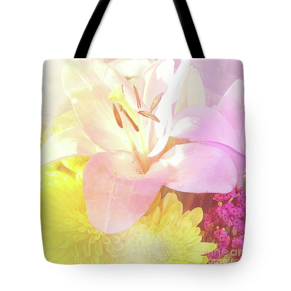 Tote Bag featuring the photograph Pink Lilies Yellow Mums by Cindy Garber Iverson