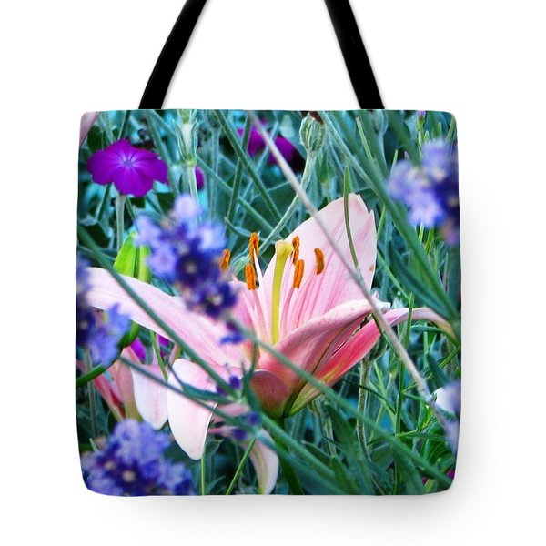 Tote Bag featuring the photograph Pink Lily In The Lavender by Judyann Matthews