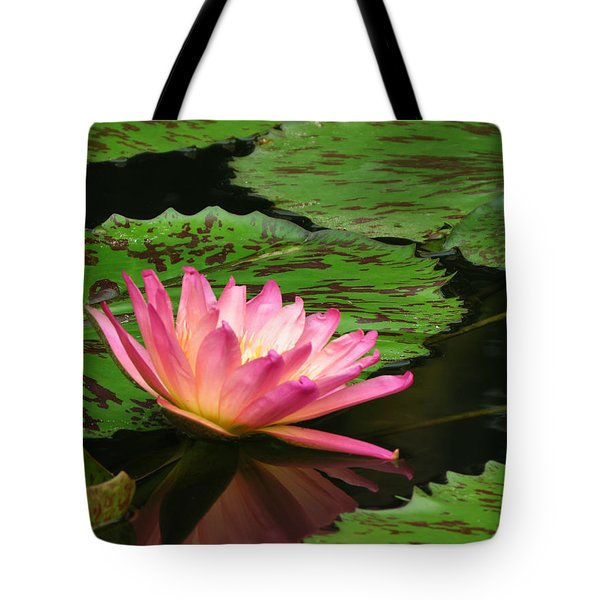 Pink Lily Reflection Tote Bag