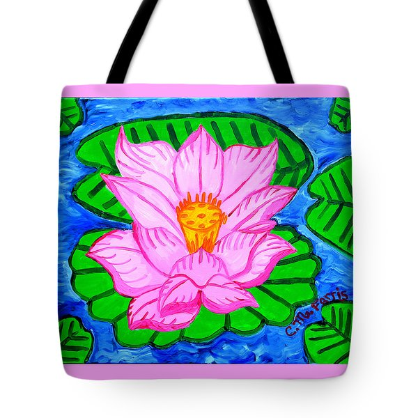 Tote Bag featuring the painting Pink Lotus Flower by Christopher Farris