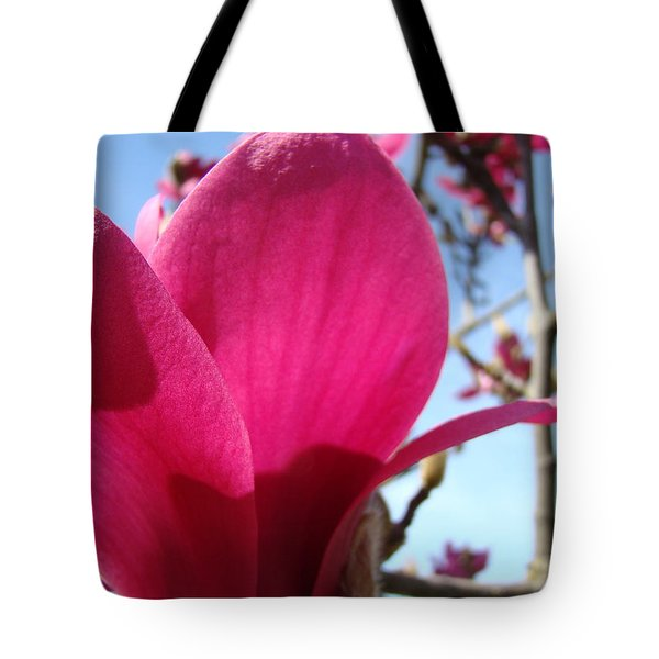 Pink Magnolia Flowers Magnolia Tree Spring Art Tote Bag by Baslee Troutman