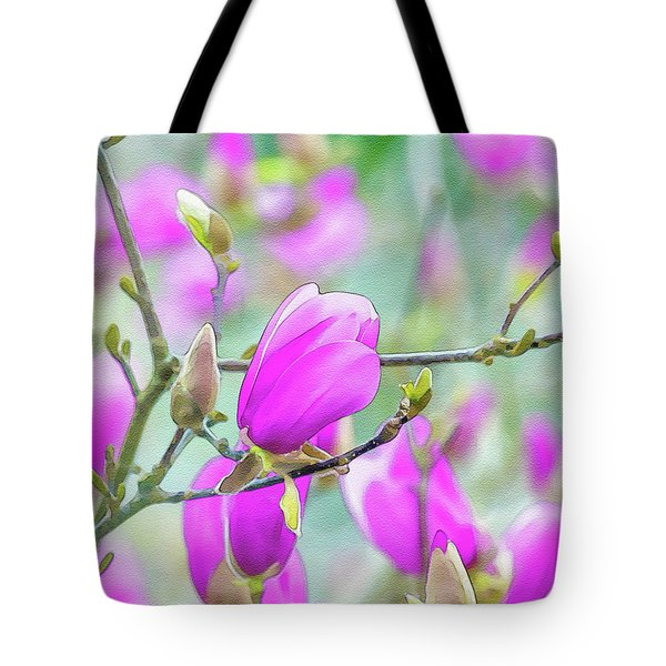 Tote Bag featuring the digital art Pink Magnolia  by Keith Smith