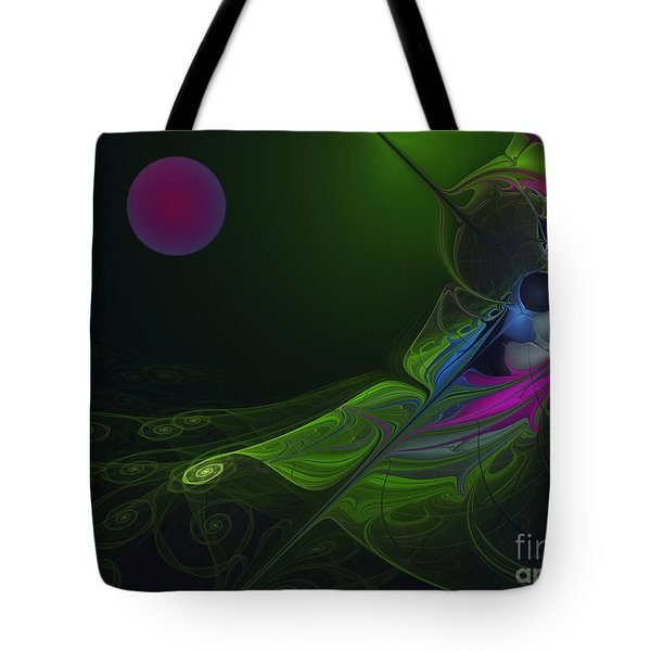 Tote Bag featuring the digital art Pink Moon by Karin Kuhlmann