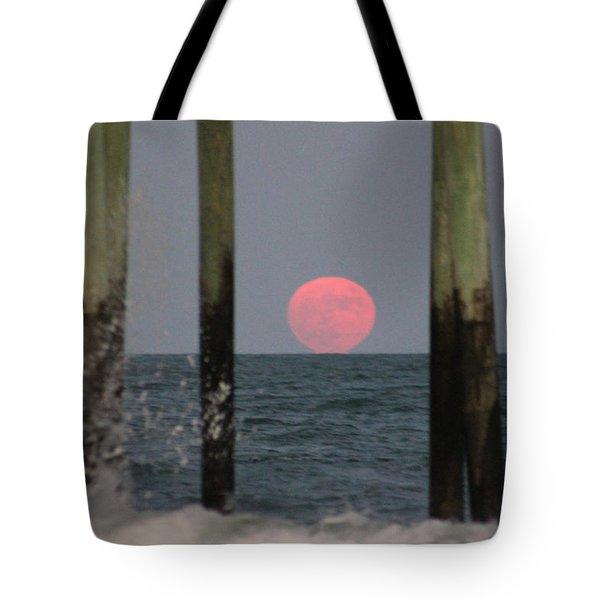 Pink Moon Rising Tote Bag by Robert Banach