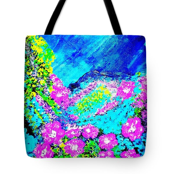 Tote Bag featuring the painting Pink N Blue by Piety Dsilva