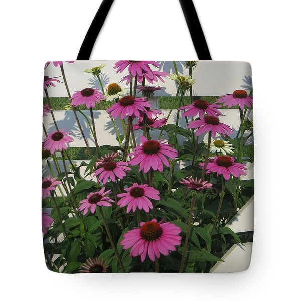 Pink On The Fence Tote Bag
