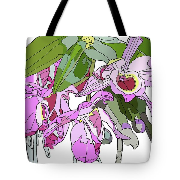 Pink Orchid Bunch Tote Bag by Jamie Downs
