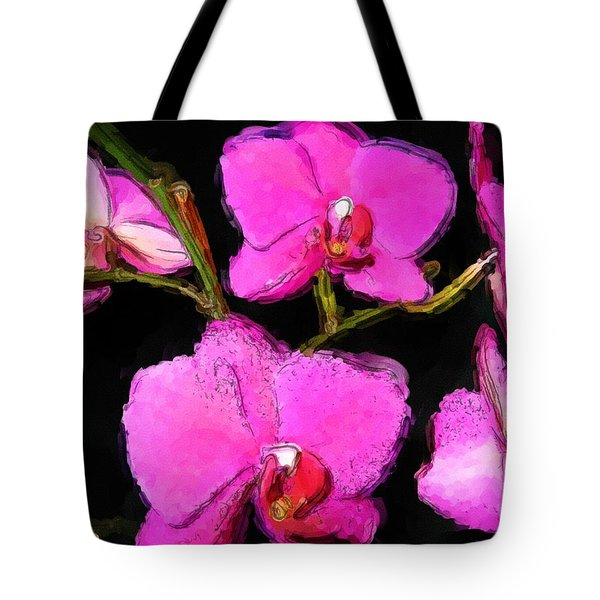 Pink Orchids Tote Bag by Dennis Lundell