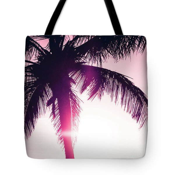 Tote Bag featuring the photograph Pink Palm Tree Silhouettes Kihei Tropical Nights by Sharon Mau