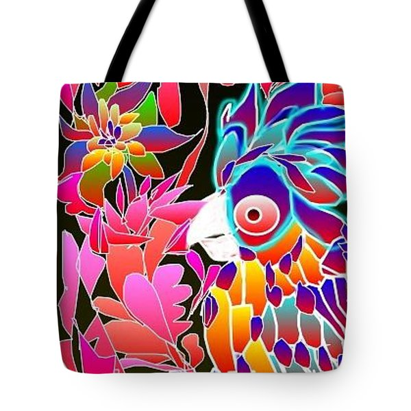 Tote Bag featuring the digital art Pink Parrot by Rae Chichilnitsky