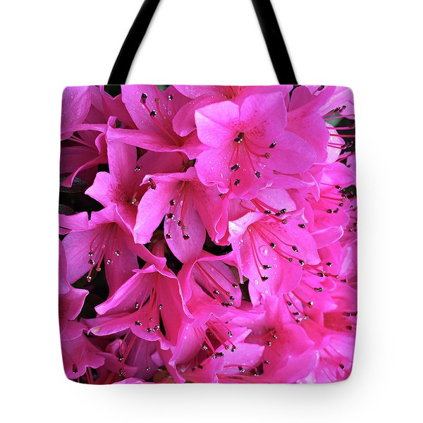 Tote Bag featuring the photograph Pink Passion In The Rain by Sherry Hallemeier